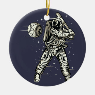Space Baseball Ceramic Ornament