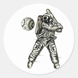 Space Baseball Classic Round Sticker