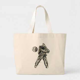 Space Baseball Large Tote Bag
