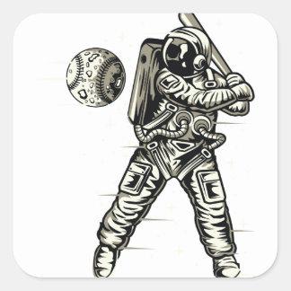 Space Baseball Square Sticker