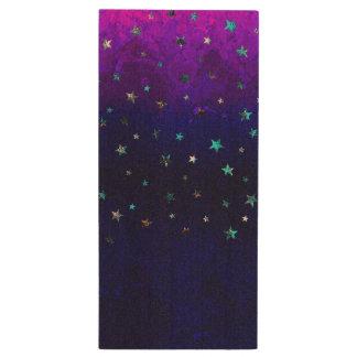 Space beautiful galaxy night starry  image wood USB flash drive