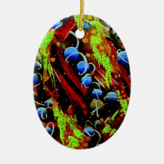 Space Berries Ceramic Oval Ornament