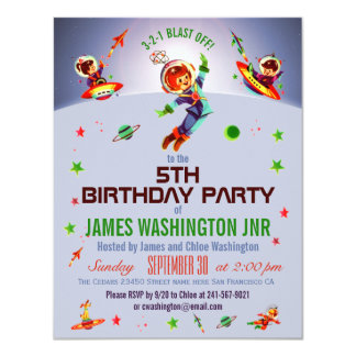 Space Boy's 5th Birthday Party Card
