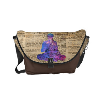 Space Buddha Dictionary Art Messenger Bag