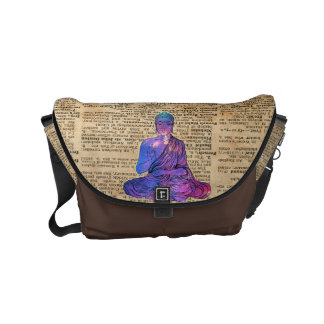Space Buddha Vintage Dictionary Art Courier Bag