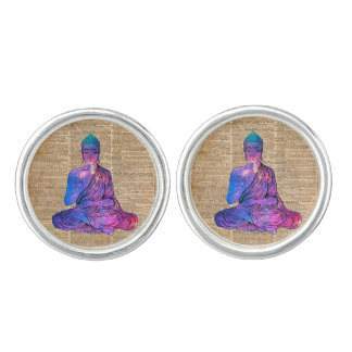 Space Buddha Vintage Dictionary Art Cuff Links
