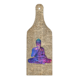 Space Buddha Vintage Dictionary Art Cutting Board