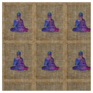 Space Buddha Vintage Dictionary Art Fabric