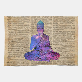 Space Buddha Vintage Dictionary Art Kitchen Towel