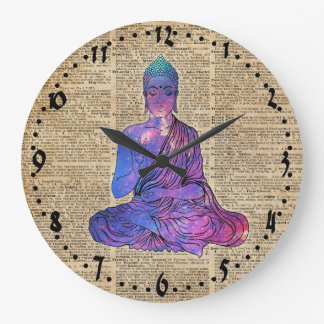 Space Buddha Vintage Dictionary Art Large Clock