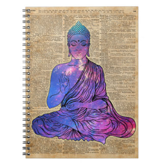 Space Buddha Vintage Dictionary Art Notebooks