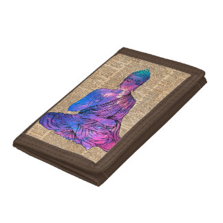 Space Buddha Vintage Dictionary Art Trifold Wallet