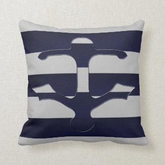 Space Cadet Grey Anchor Throw Pillow