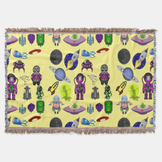 Space Cartoon Throw Blanket