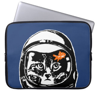 Space cat and the goldfish laptop computer sleeves