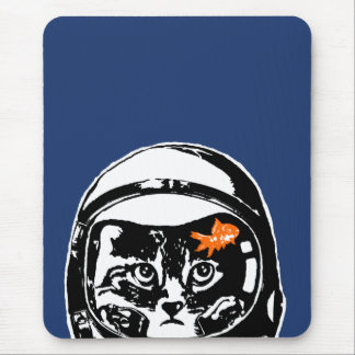 Space cat and the goldfish mouse pad
