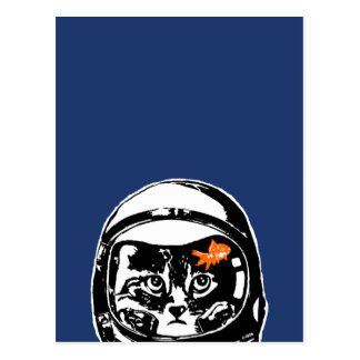 Space cat and the goldfish postcard