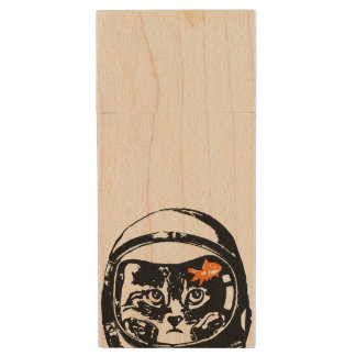 Space cat and the goldfish wood USB flash drive