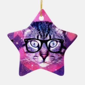 Space Cat Ceramic Star Ornament