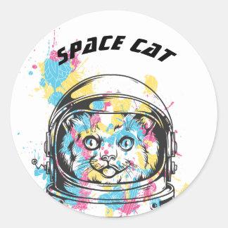 Space Cat Classic Round Sticker