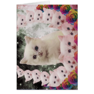 space cat in flowers card