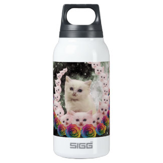 space cat in flowers insulated water bottle