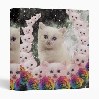 space cat in flowers vinyl binder