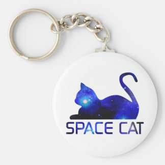 Space Cat Pet Basic Round Button Keychain