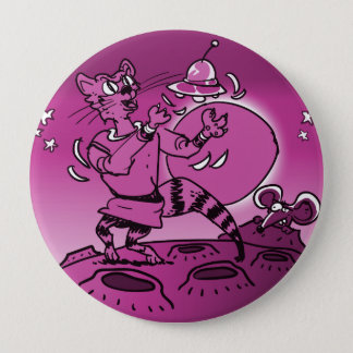 space cat playing with ufo funny cartoon 4 inch round button