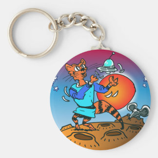 space cat playing with ufo funny cartoon keychain