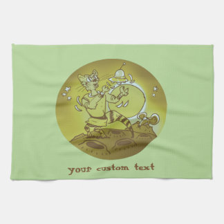 space cat playing with ufo funny cartoon kitchen towel