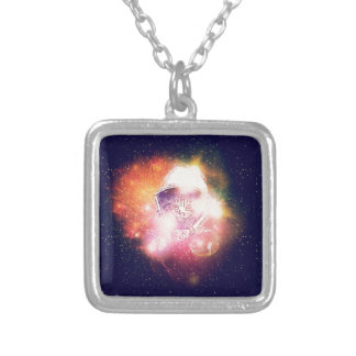 Space Cat Portrait2 Silver Plated Necklace