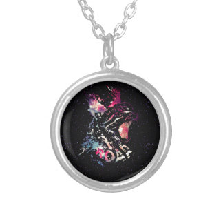 Space Cat Portrait Silver Plated Necklace
