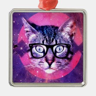 Space Cat Silver-Colored Square Ornament