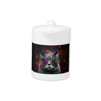 Space Cat Wearing Goggles in Front of the Galaxy