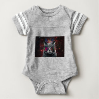 Space Cat Wearing Goggles in Front of the Galaxy Baby Bodysuit