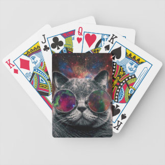 Space Cat Wearing Goggles in Front of the Galaxy Bicycle Playing Cards