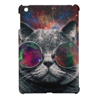 Space Cat Wearing Goggles in Front of the Galaxy iPad Mini Cover
