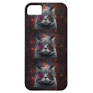 Space Cat Wearing Goggles in Front of the Galaxy iPhone 5 Case