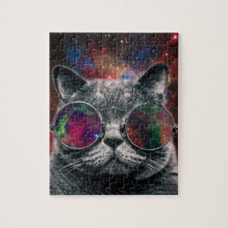 Space Cat Wearing Goggles in Front of the Galaxy Jigsaw Puzzle