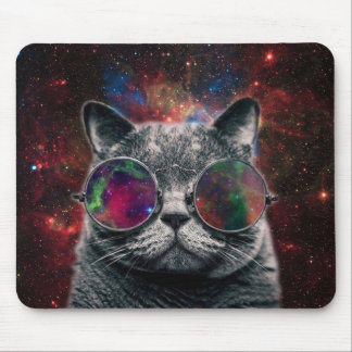 Space Cat Wearing Goggles in Front of the Galaxy Mouse Pad