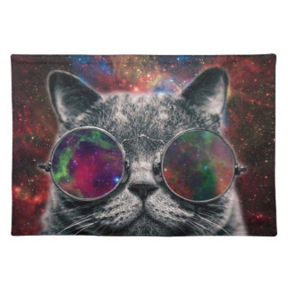 Space Cat Wearing Goggles in Front of the Galaxy Placemat