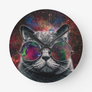 Space Cat Wearing Goggles in Front of the Galaxy Round Clock