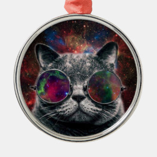 Space Cat Wearing Goggles in Front of the Galaxy Silver-Colored Round Ornament