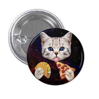 Space Cat with taco and pizza 1 Inch Round Button