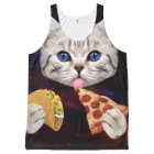 Space Cat with taco and pizza All-Over-Print Tank Top