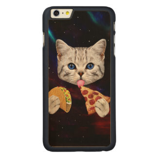 Space Cat with taco and pizza Carved Maple iPhone 6 Plus Case