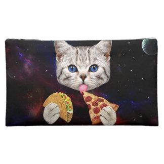 Space Cat with taco and pizza Cosmetic Bags