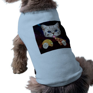 Space Cat with taco and pizza Doggie Tshirt