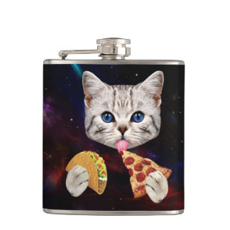 Space Cat with taco and pizza Flask